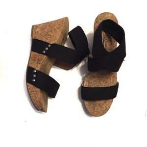 Lucky Brand Shoes - Lucky Brand Marinah Ankle Strap Cork Wedge Sandal